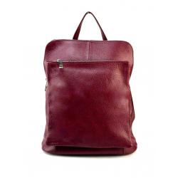Praktický červený bordó kožený batôžtek a kabelka 2v1 Aveline