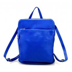 Praktický sýto modrý kožený batôžtek a kabelka 2v1 Aveline