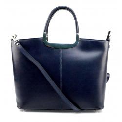 Menšia štýlová tmavo modrá kožená kabelka do ruky Amelia