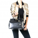Štýlová luxusná koňakovo hnedá kožená kabelka do ruky Aliste
