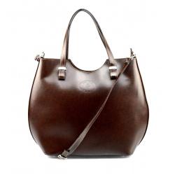 Kožená tmavo hnedá kabelka do ruky Catherine