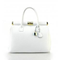 Kožená luxusná snehovo biela kabelka Aliste