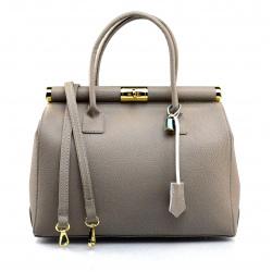 Kožená luxusná béžová taupe kabelka Aliste