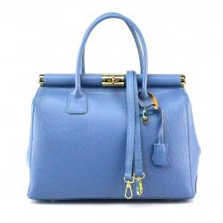 Kožená luxusná svetlo modrá kabelka Aliste