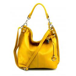 Kožená horčicovo žltá veľká kabelka cez rameno denice
