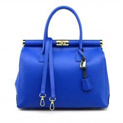 Kožená luxusná sýto modrá kabelka Aliste