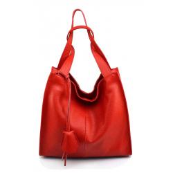 Kožená luxusní sýto červená kabelka přes rameno Darci Little