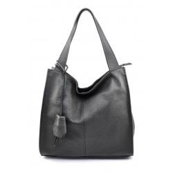 Väčšia moderná tmavo sivá kožená kabelka cez rameno Darci Little