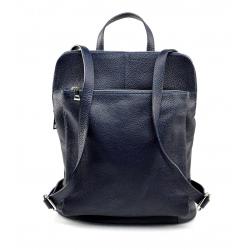 Praktický tmavo modrý kožený batôžtek a kabelka 2v1 Aveline