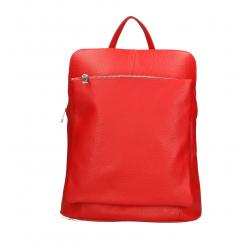 Praktický červený kožený batôžtek a kabelka 2v1 Aveline