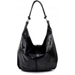Kožená čierna taška cez rameno relic