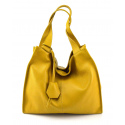 Väčšia moderná horčicovo žltá kožená kabelka cez rameno Darci Little