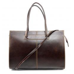 Kožená praktická tmavo hnedá veľká kabelka Business