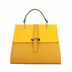 Kožená luxusná žltá veľká taška do ruky adele
