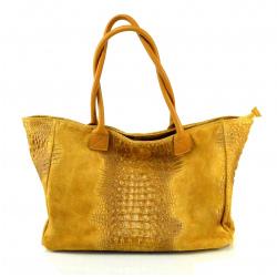 Kožená veľká koňakovo hnedá taška se vzorom krokodílej kože Jeana