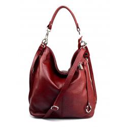 Väčšia luxusná tmavo červená kožená kabelka cez rameno Denice