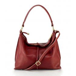 Kožená tmavo červená velká taška na rameno Clarita