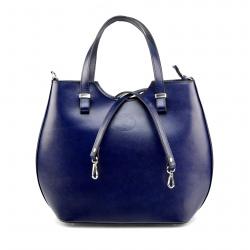 Veľká luxusná tmavo modrá kožená kabelka cez rameno Catherine