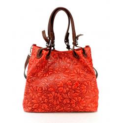 Jedinečná luxusná sýto červená kožená kabelka cez rameno Madeleine Two